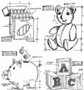 CMS229 Stampers Anonymous Tim Holtz Cling Mounted Stamp Set - Childhood Blueprint